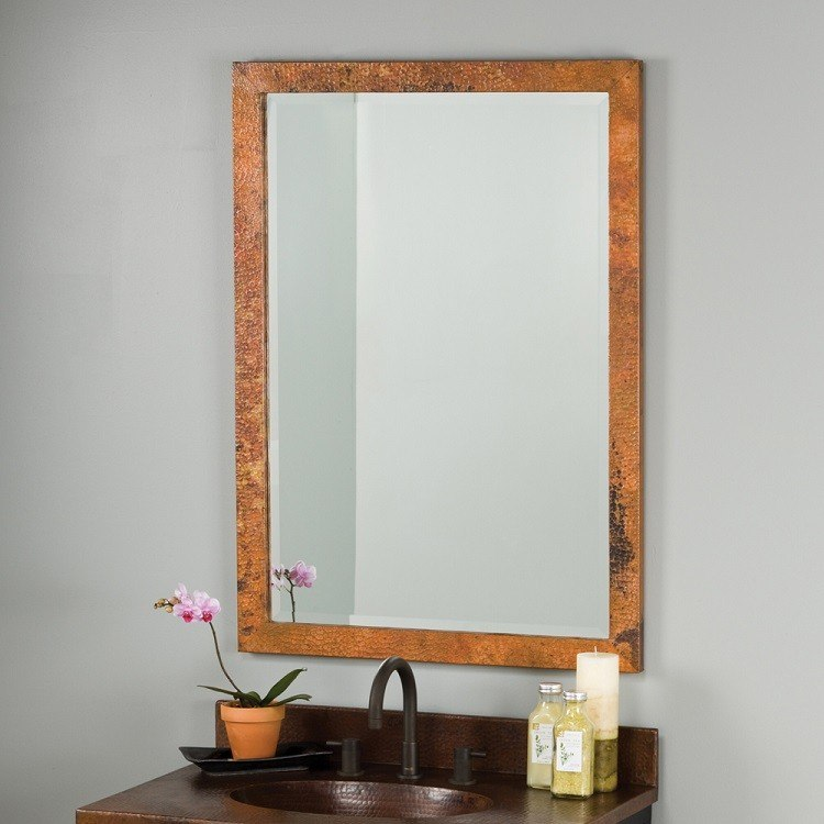 Native Trails CPM95 Milano 28 x 40 Inch Rectangle Hand Hammered Copper Mirror