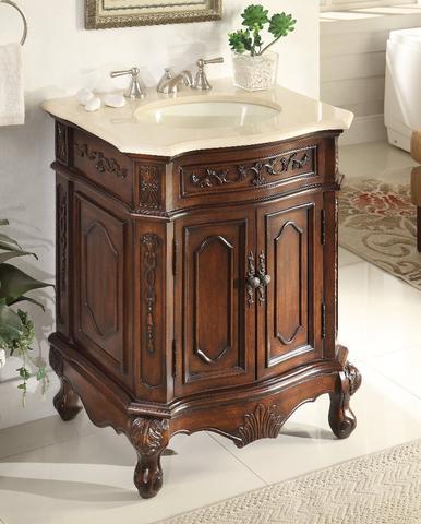 Chans Furniture Hf 3305m Tk 27 Spencer 27 Inch Brown Bathroom Vanity Cream Marble Countertop