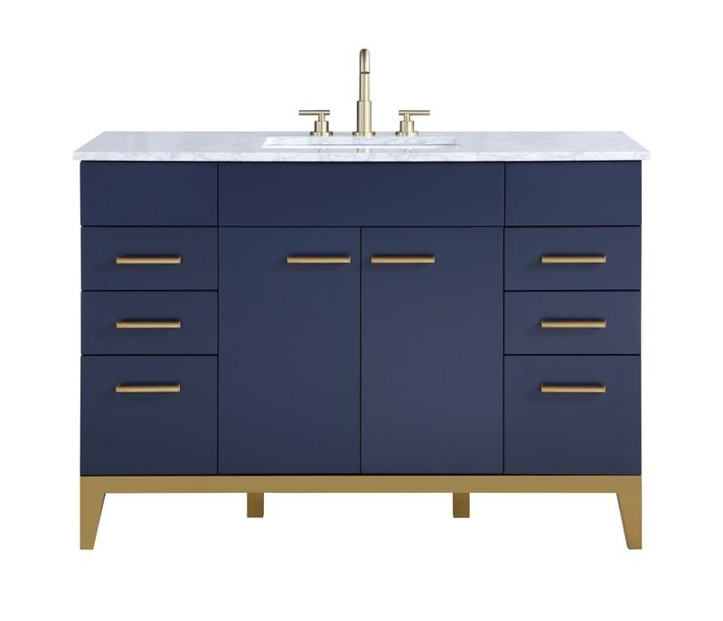 STUFURHOME HE-1900NY-48-CR ALISSON DARK BLUE 48 INCH SINGLE SINK BATHROOM VANITY