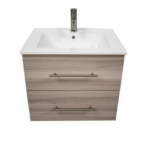 MTD VOLPA USA MTD-3330-1 NAPA 30 INCH MODERN WALL-MOUNTED FLOATING BATHROOM VANITY WITH CERAMIC TOP AND ROUND HANDLES