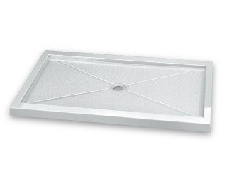 Fleurco ABF3648-3F Quad 36 x 48 Inch In-Line Acrylic Shower Base with Center Drain w/ Three Integrated Tile Flanges