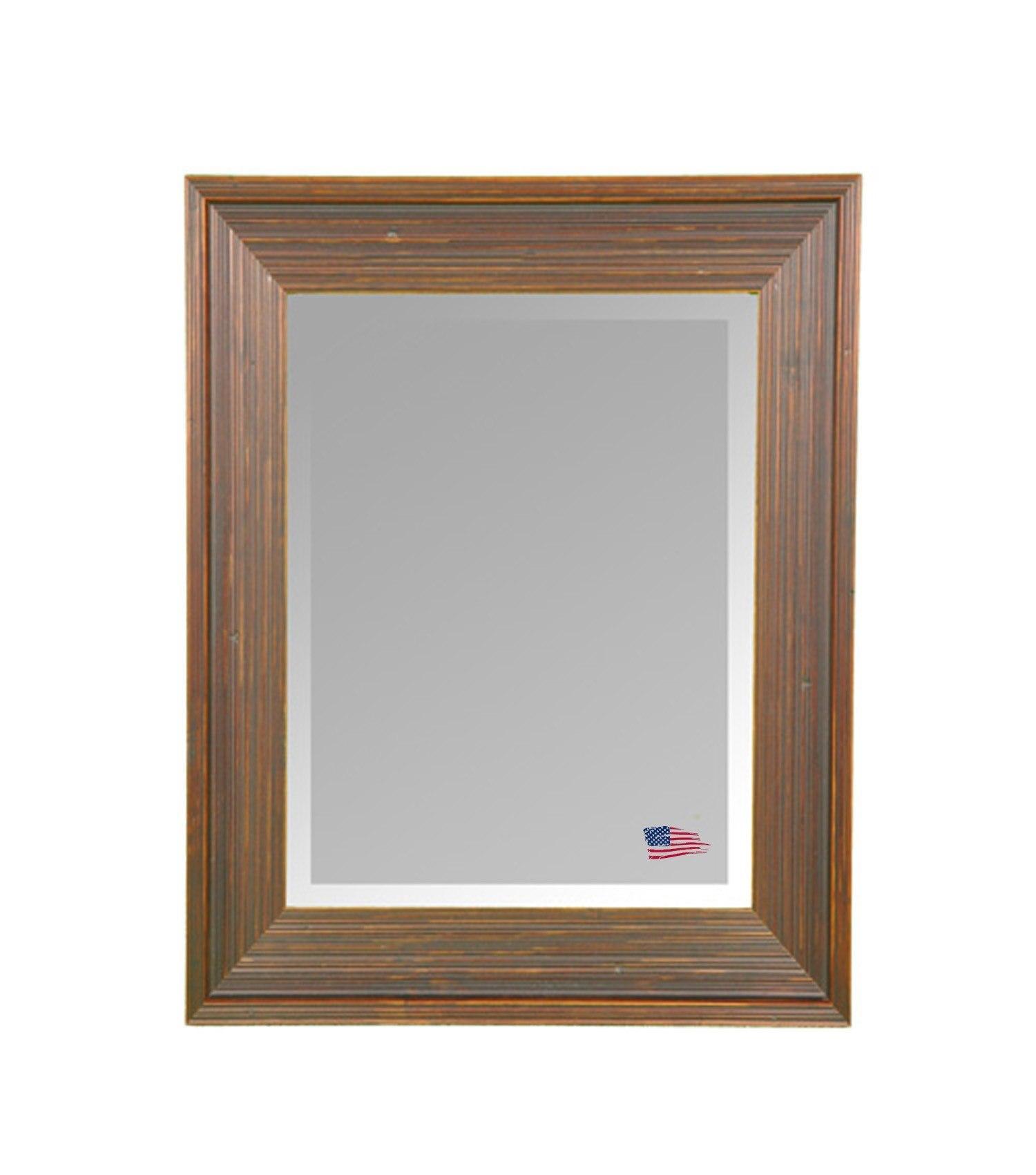 Rayne Mirrors R0017ML2 33.75 x 37.75 Inch Barnwood Brown Wall Mirror