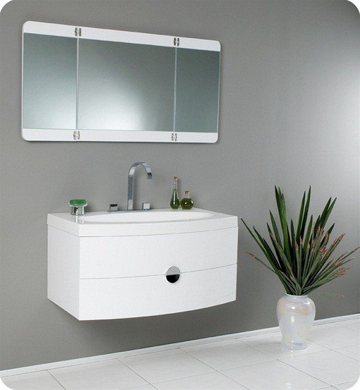 FRESCA FVN5092PW ENERGIA 36 INCH WHITE MODERN BATHROOM VANITY WITH THREE PANEL FOLDING MIRROR