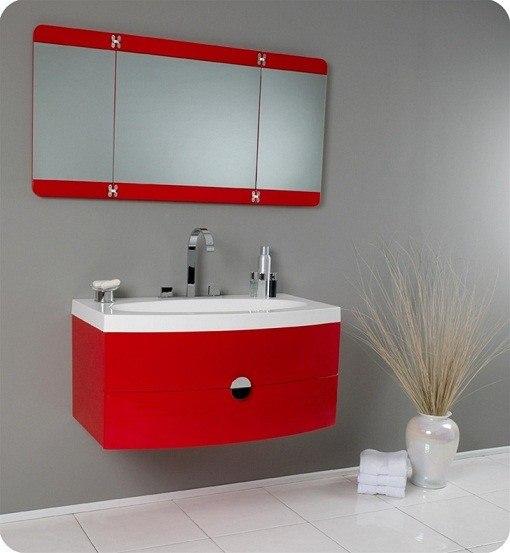 Fresca Fvn5092rd Energia 36 Inch Red Modern Bathroom Vanity With Three Panel Folding Mirror
