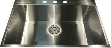 Nantucket Sinks ZR3322-16 Pro Series 33 Inch Large Rectangle Single Bowl Self Rimming Zero Radius Stainless Steel Drop in Kitchen Sink- 16 Gauge