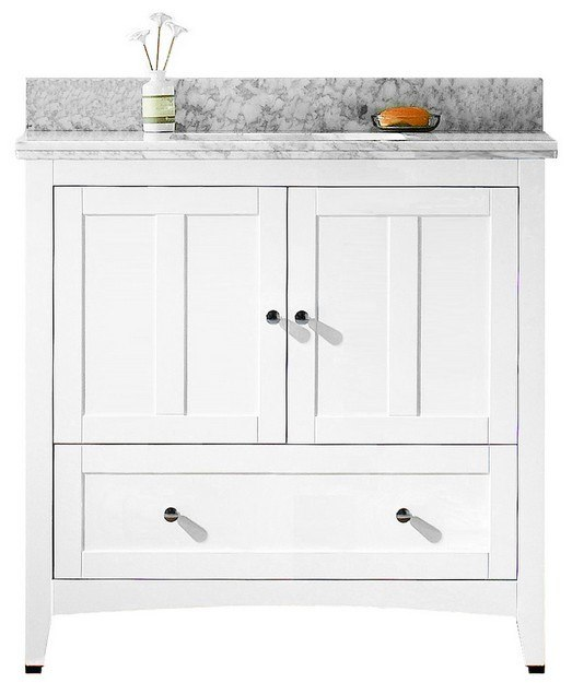 American Imaginations AI-17626 Shaker 35.5 W x 18 D Inch Vanity Set in White