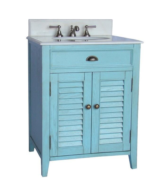 . CHANS FURNITURE CF 28883 ABBEVILLE 26 INCH LIGHT BLUE BATHROOM VANITY