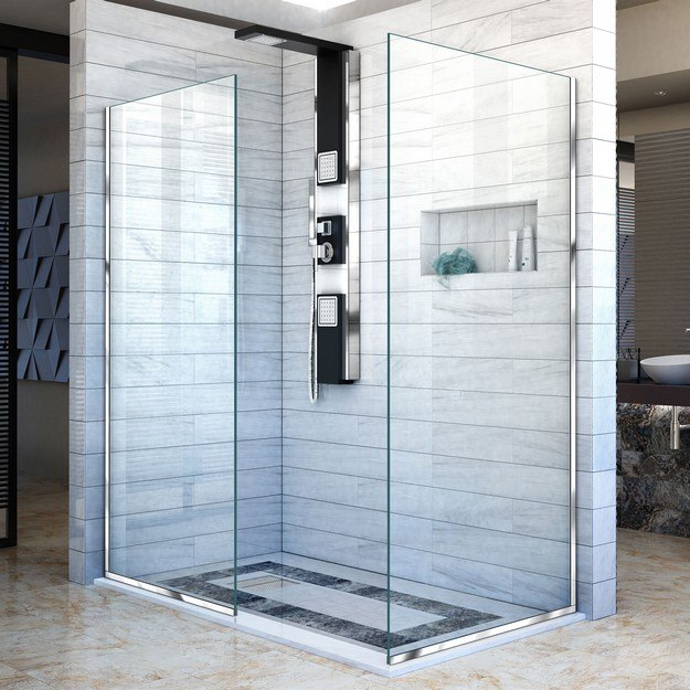 DREAMLINE SHDR-3230342 LINEA TWO INDIVIDUAL FRAMELESS SHOWER SCREENS 34 AND 30 W X 72 H, OPEN ENTRY DESIGN