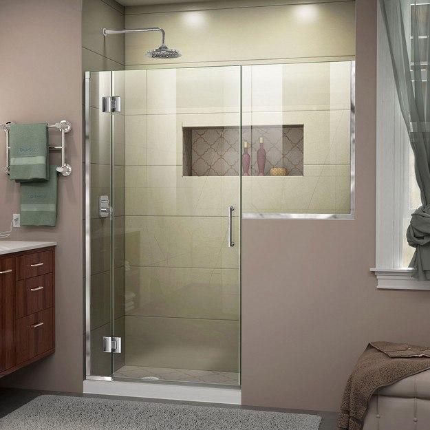 DREAMLINE D1282434 UNIDOOR-X 58-58 1/2 W X 72 H FRAMELESS HINGED SHOWER DOOR
