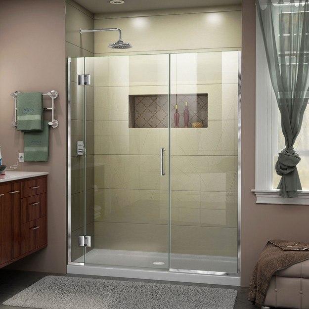 DREAMLINE D12322572 UNIDOOR-X 51 1/2-52 W X 72 H FRAMELESS HINGED SHOWER DOOR