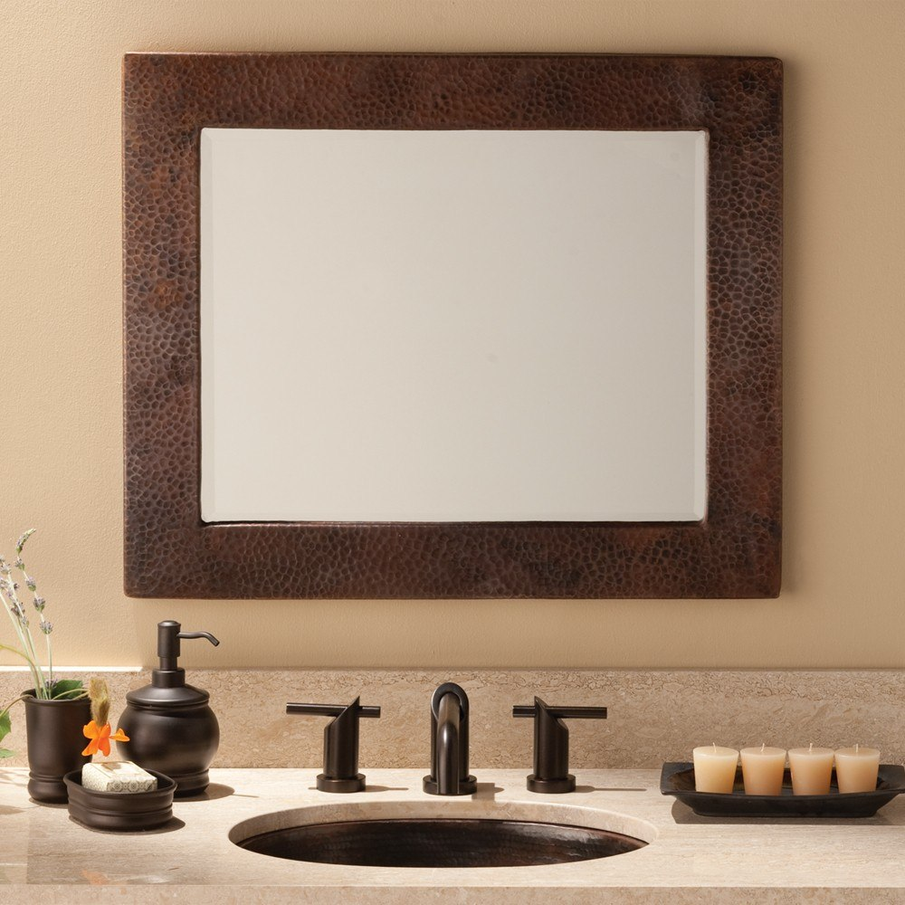 Native Trails CPM65 Sedona 30 x 36 Inch Rectangle Hand Hammered Copper Mirror, Antique Finish