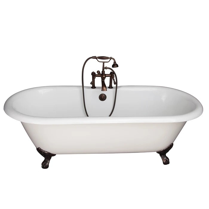 BARCLAY TKCTDRH61-ORB4 COLUMBUS 60 INCH CAST IRON FREESTANDING CLAWFOOT SOAKER BATHTUB IN WHITE WITH METAL LEVER HANDLE TUB FILLER AND HAND SHOWER IN OIL RUBBED BRONZE