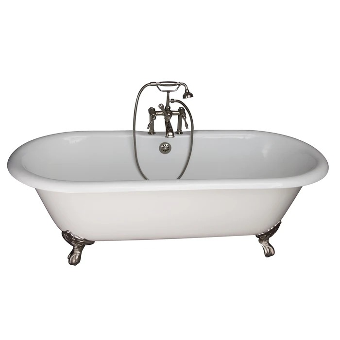 BARCLAY TKCTDRH61-PN3 COLUMBUS 60 INCH CAST IRON FREESTANDING CLAWFOOT SOAKER BATHTUB IN WHITE WITH FINIAL METAL LEVER HANDLE TUB FILLER AND HAND SHOWER IN POLISHED NICKEL