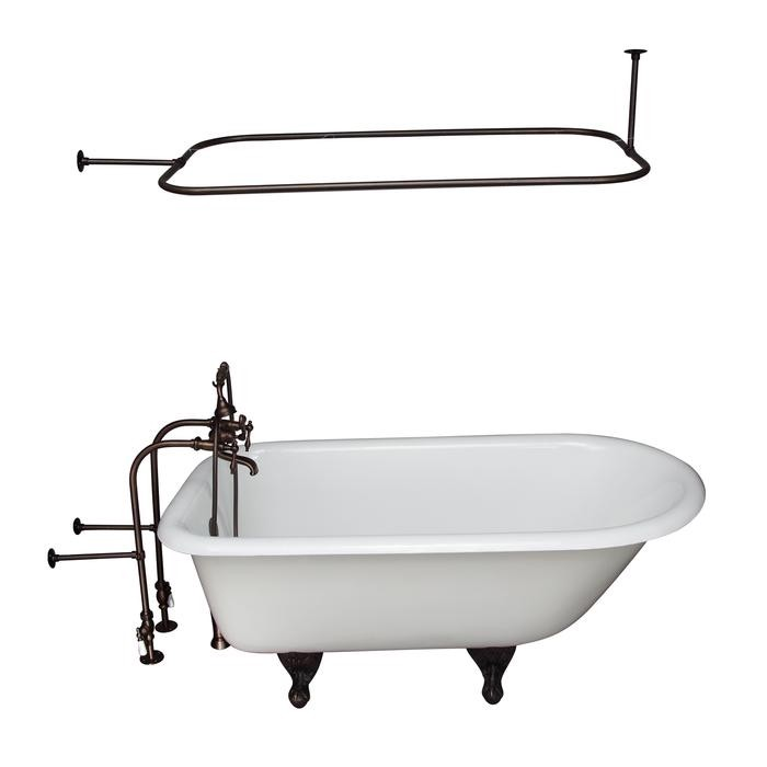 BARCLAY TKCTRN67-ORB10 BROCTON 68 INCH CAST IRON FREESTANDING SOAKER BATHTUB IN WHITE WITH FINIAL METAL LEVER HANDLE TUB FILLER AND 48 INCH RECTANGULAR SHOWER ROD IN OIL RUBBED BRONZE