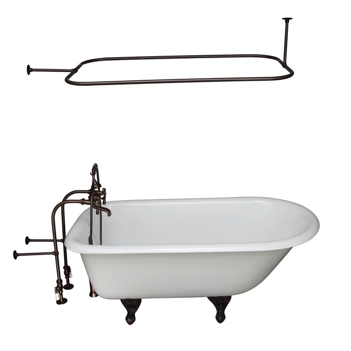 BARCLAY TKCTRN67-ORB11 BROCTON 68 INCH CAST IRON FREESTANDING SOAKER BATHTUB IN WHITE WITH METAL LEVER HANDLE TUB FILLER AND 48 INCH RECTANGULAR SHOWER ROD IN OIL RUBBED BRONZE