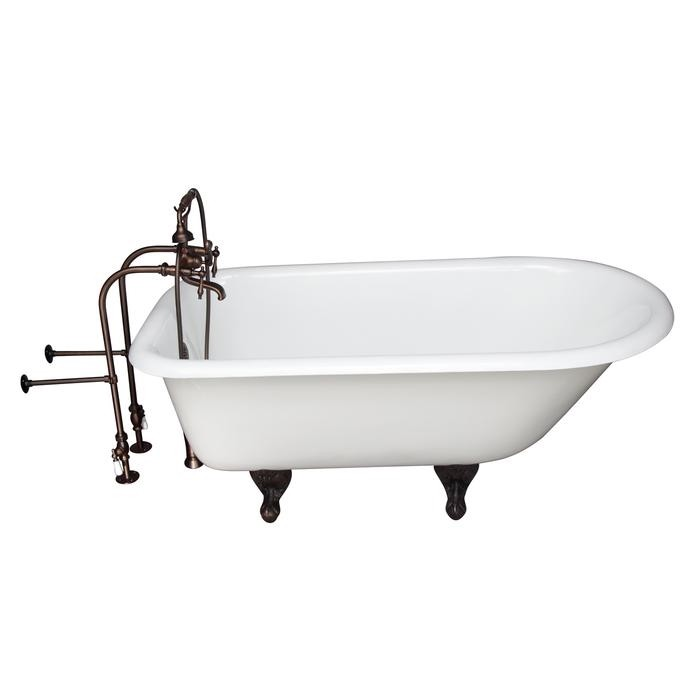 BARCLAY TKCTRN67-ORB7 BROCTON 68 INCH CAST IRON FREESTANDING SOAKER BATHTUB IN WHITE WITH FINIAL METAL LEVER HANDLE TUB FILLER AND HAND SHOWER IN OIL RUBBED BRONZE