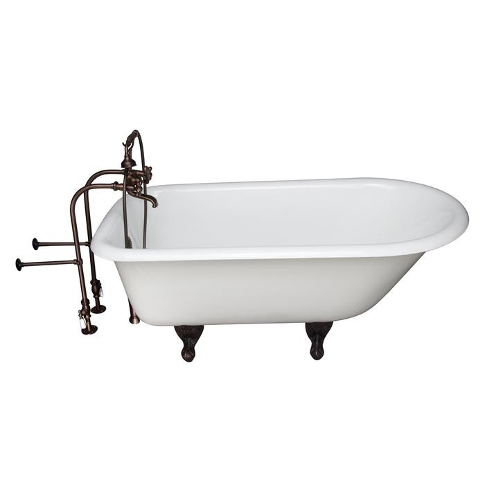 BARCLAY TKCTRN67-ORB9 BROCTON 68 INCH CAST IRON FREESTANDING SOAKER BATHTUB IN WHITE WITH METAL CROSS HANDLE TUB FILLER AND HAND SHOWER IN OIL RUBBED BRONZE