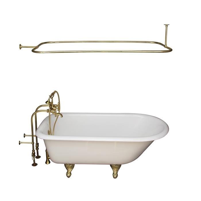 BARCLAY TKCTRN67-PB11 BROCTON 68 INCH CAST IRON FREESTANDING SOAKER BATHTUB IN WHITE WITH METAL LEVER HANDLE TUB FILLER AND 54 INCH RECTANGULAR SHOWER ROD IN POLISHED BRASS