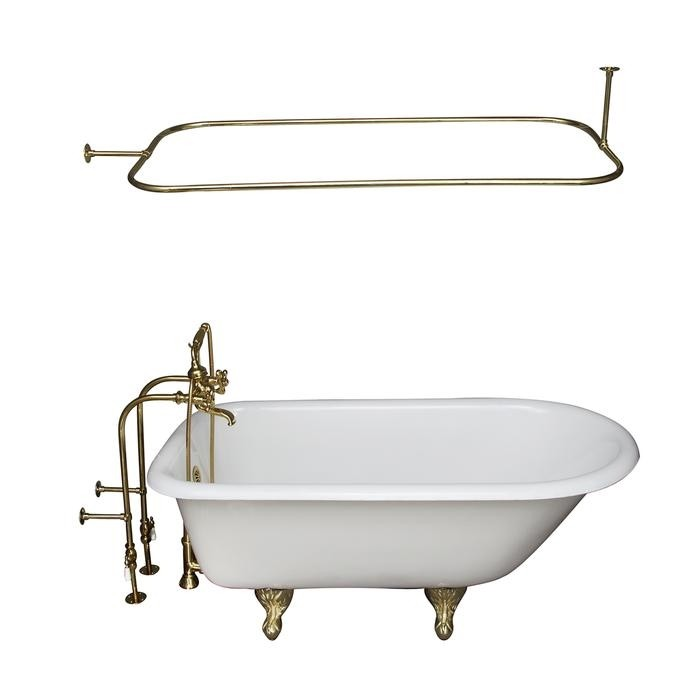 BARCLAY TKCTRN67-PB12 BROCTON 68 INCH CAST IRON FREESTANDING SOAKER BATHTUB IN WHITE WITH METAL CROSS HANDLE TUB FILLER AND 54 INCH RECTANGULAR SHOWER ROD IN POLISHED BRASS