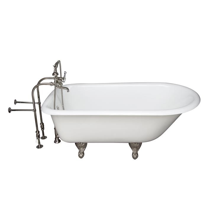 BARCLAY TKCTRN67-PN9 BROCTON 68 INCH CAST IRON FREESTANDING SOAKER BATHTUB IN WHITE WITH METAL CROSS HANDLE TUB FILLER AND HAND SHOWER IN POLISHED NICKEL