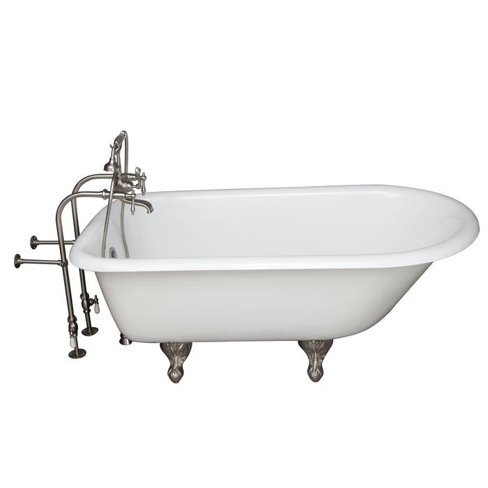 BARCLAY TKCTRN67-SN7 BROCTON 68 INCH CAST IRON FREESTANDING SOAKER BATHTUB IN WHITE WITH FINIAL METAL LEVER HANDLE TUB FILLER AND HAND SHOWER IN BRUSHED NICKEL