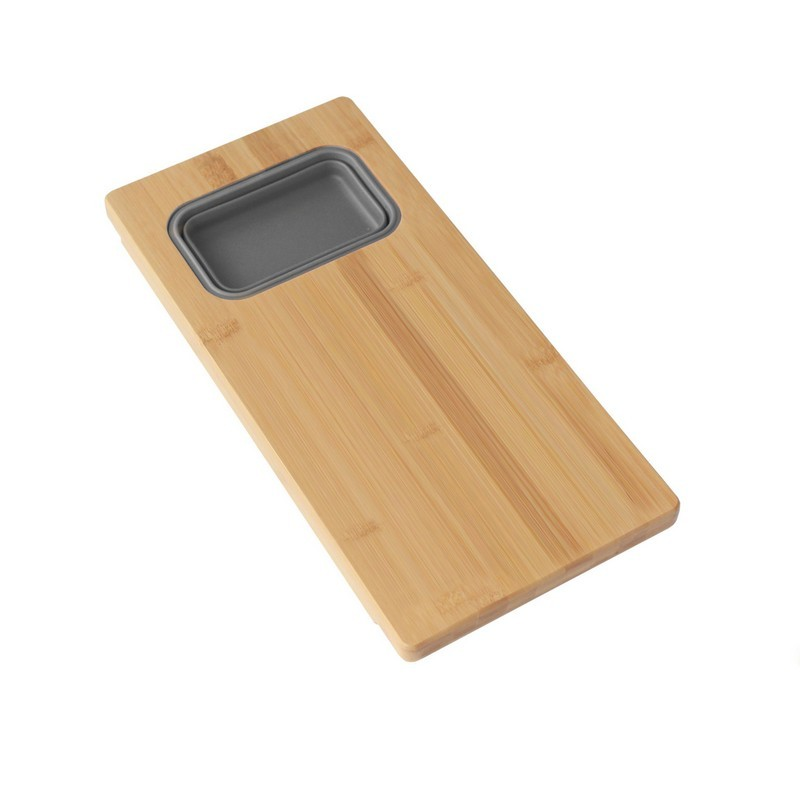 AZUNI A913 18 INCH OVER THE SINK BAMBOO CUTTING BOARD WITH 1 COLLAPSIBLE CONTAINER