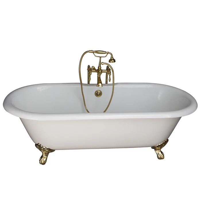 BARCLAY TKCTDRN61-PB3 COLUMBUS 61 INCH CAST IRON FREESTANDING CLAWFOOT SOAKER BATHTUB IN WHITE WITH FINIALS METAL LEVER HANDLE TUB FILLER AND HAND SHOWER IN POLISHED BRASS