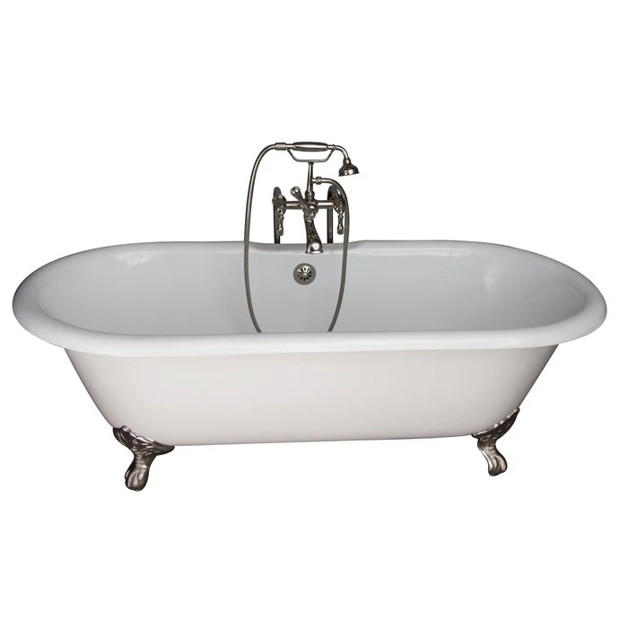 BARCLAY TKCTDRN61-PN4 COLUMBUS 61 INCH CAST IRON FREESTANDING CLAWFOOT SOAKER BATHTUB IN WHITE WITH METAL LEVER HANDLE TUB FILLER AND HAND SHOWER IN POLISHED NICKEL
