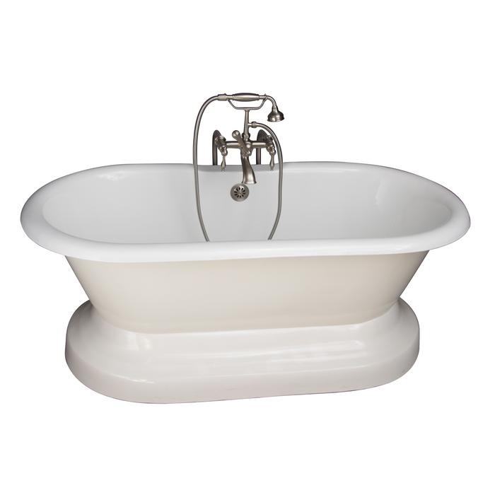 BARCLAY TKCTDRN61B-SN3 COLUMBUS 61 INCH CAST IRON FREESTANDING SOAKER BATHTUB IN WHITE WITH FINIALS METAL LEVER HANDLE TUB FILLER AND HAND SHOWER IN BRUSHED NICKEL