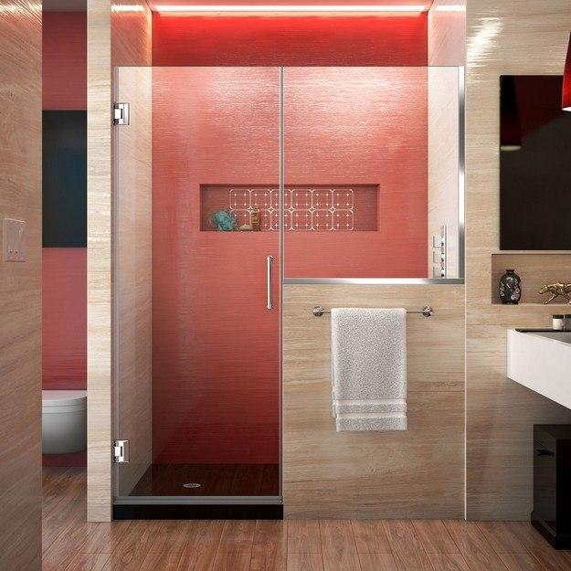DREAMLINE SHDR-24283034 UNIDOOR PLUS 58-58 1/2 W X 72 H HINGED SHOWER DOOR WITH 34 HALF PANEL, CLEAR GLASS