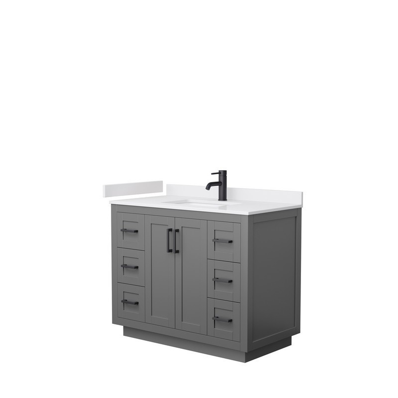 Wyndham Collection Wcf292942sgbwcunsmxx Miranda 42 Inch Single Bathroom Vanity In Dark Gray With White Cultured