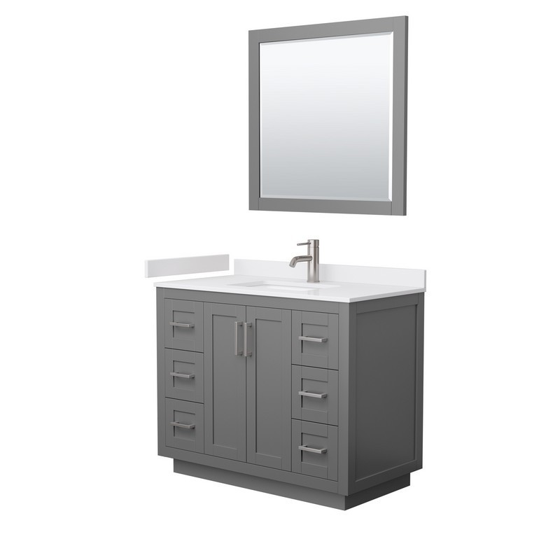 WYNDHAM COLLECTION WCF292942SKGWCUNSM34 MIRANDA 42 INCH SINGLE BATHROOM VANITY IN DARK GRAY WITH WHITE CULTURED MARBLE COUNTERTOP, UNDERMOUNT SQUARE SINK, BRUSHED NICKEL TRIM AND 34 INCH MIRROR