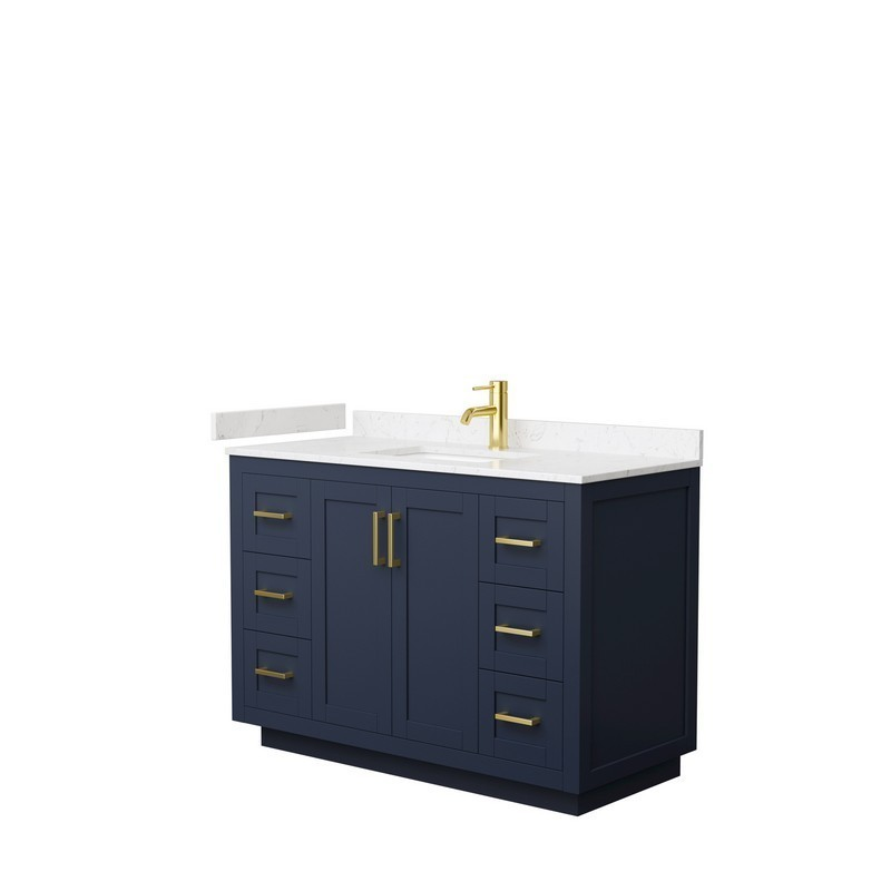 WYNDHAM COLLECTION WCF292948SBLC2UNSMXX MIRANDA 48 INCH SINGLE BATHROOM VANITY IN DARK BLUE WITH LIGHT-VEIN CARRARA CULTURED MARBLE COUNTERTOP, UNDERMOUNT SQUARE SINK AND BRUSHED GOLD TRIM