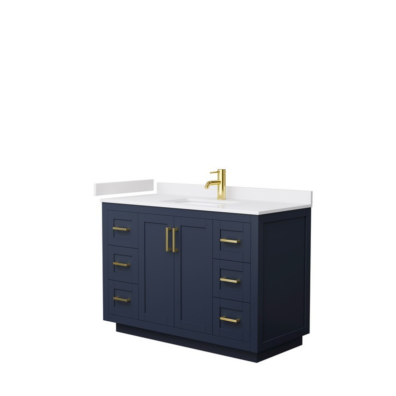 WYNDHAM COLLECTION WCF292948SBLWCUNSMXX MIRANDA 48 INCH SINGLE BATHROOM VANITY IN DARK BLUE WITH WHITE CULTURED MARBLE COUNTERTOP, UNDERMOUNT SQUARE SINK AND BRUSHED GOLD TRIM