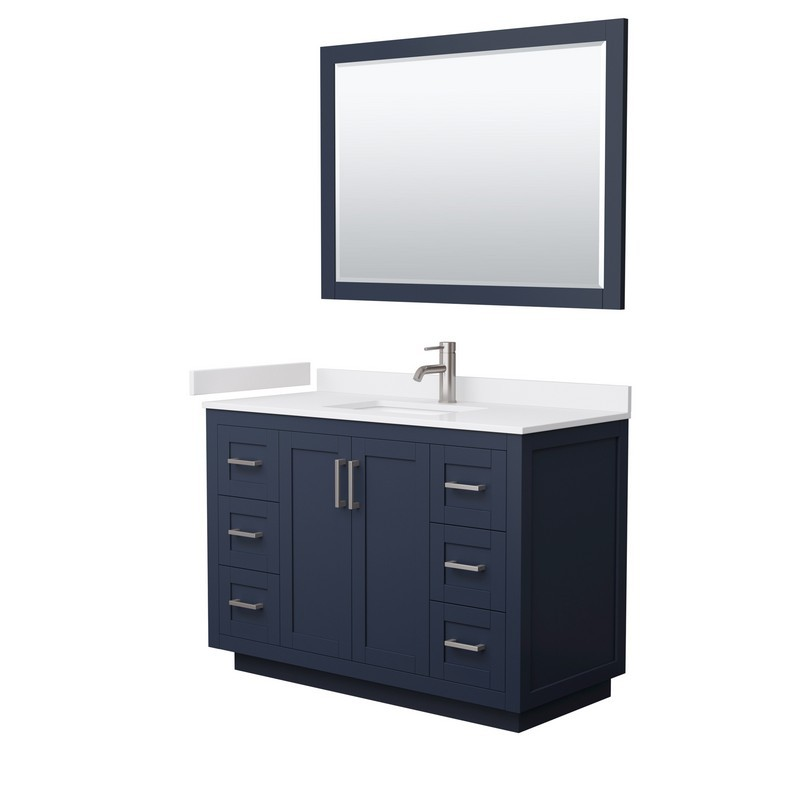 WYNDHAM COLLECTION WCF292948SBNWCUNSM46 MIRANDA 48 INCH SINGLE BATHROOM VANITY IN DARK BLUE WITH WHITE CULTURED MARBLE COUNTERTOP, UNDERMOUNT SQUARE SINK, BRUSHED NICKEL TRIM AND 46 INCH MIRROR
