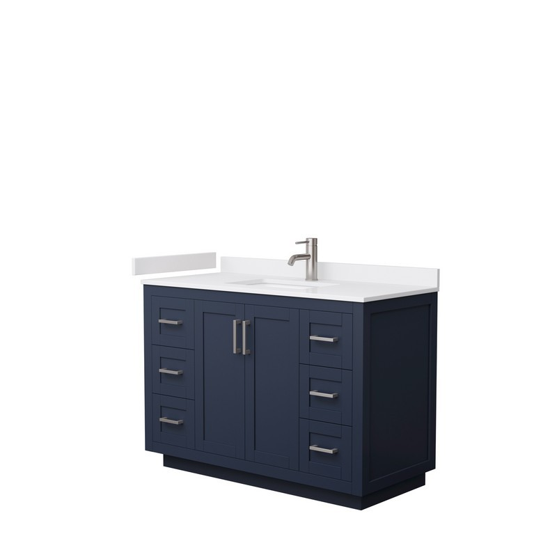 WYNDHAM COLLECTION WCF292948SBNWCUNSMXX MIRANDA 48 INCH SINGLE BATHROOM VANITY IN DARK BLUE WITH WHITE CULTURED MARBLE COUNTERTOP, UNDERMOUNT SQUARE SINK AND BRUSHED NICKEL TRIM