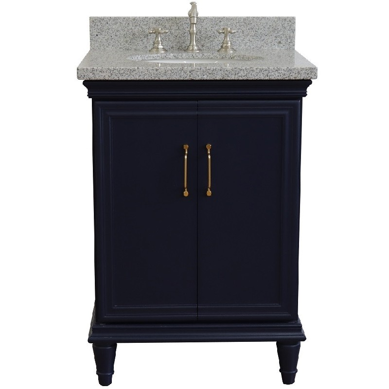 BELLATERRA 400800-25-GYO FORLI 25 INCH SINGLE VANITY WITH GRAY GRANITE TOP AND OVAL BASIN