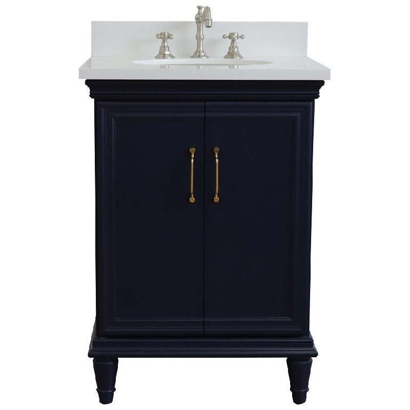 BELLATERRA 400800-25-WEO FORLI 25 INCH SINGLE VANITY WITH WHITE QUARTZ TOP AND OVAL BASIN