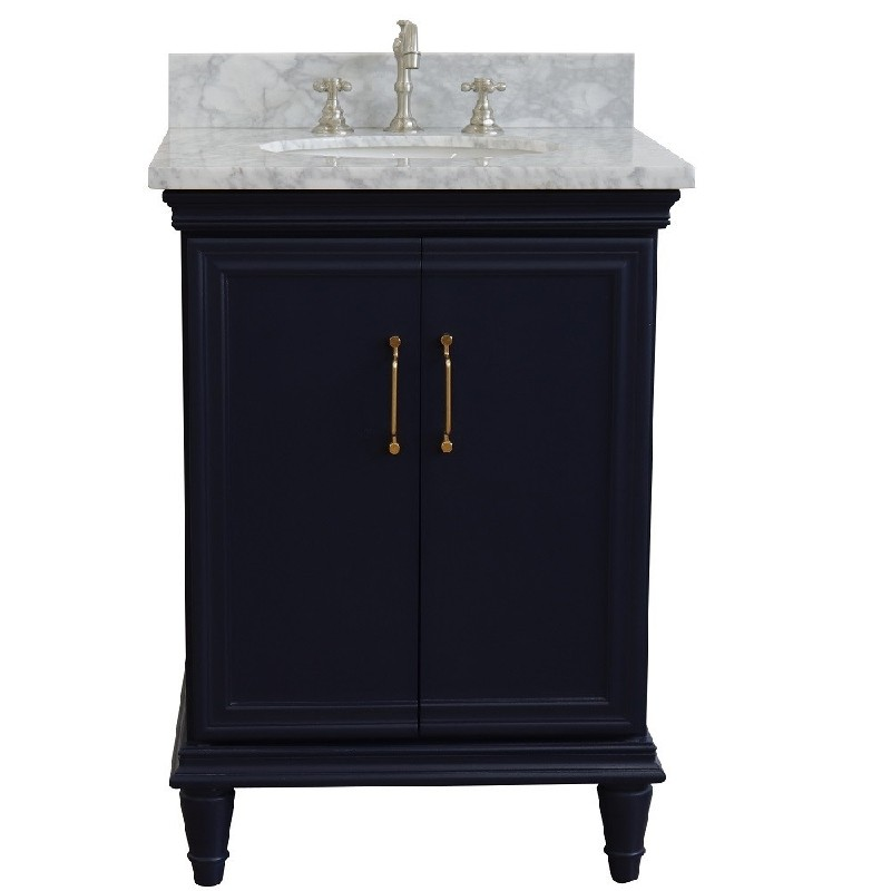 BELLATERRA 400800-25-WMO FORLI 25 INCH SINGLE VANITY WITH WHITE CARRARA MARBLE TOP AND OVAL BASIN