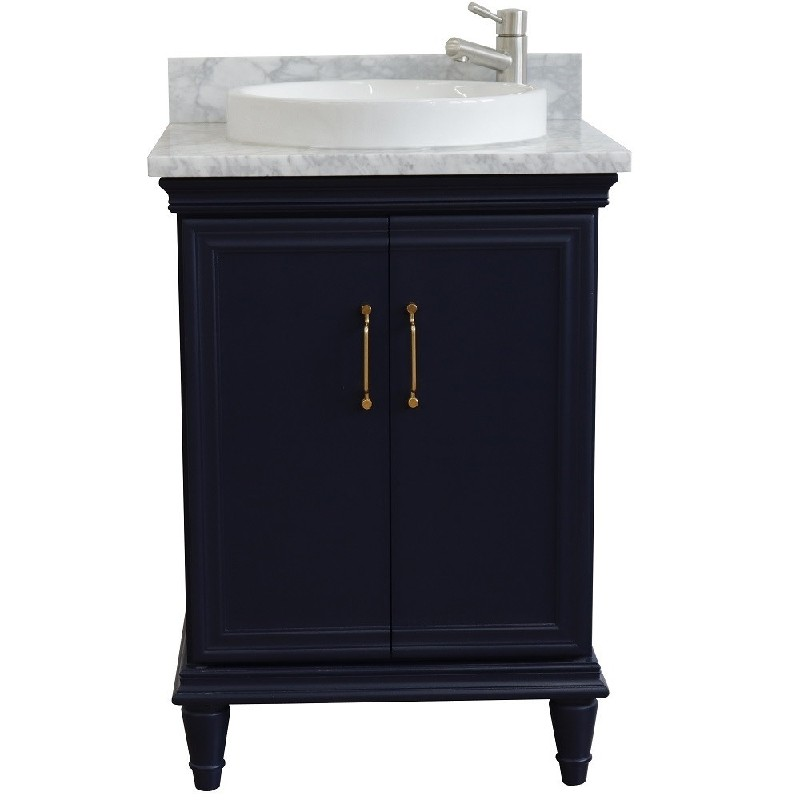 BELLATERRA 400800-25-WMRD FORLI 25 INCH SINGLE VANITY WITH WHITE CARRARA MARBLE TOP AND ROUND BASIN