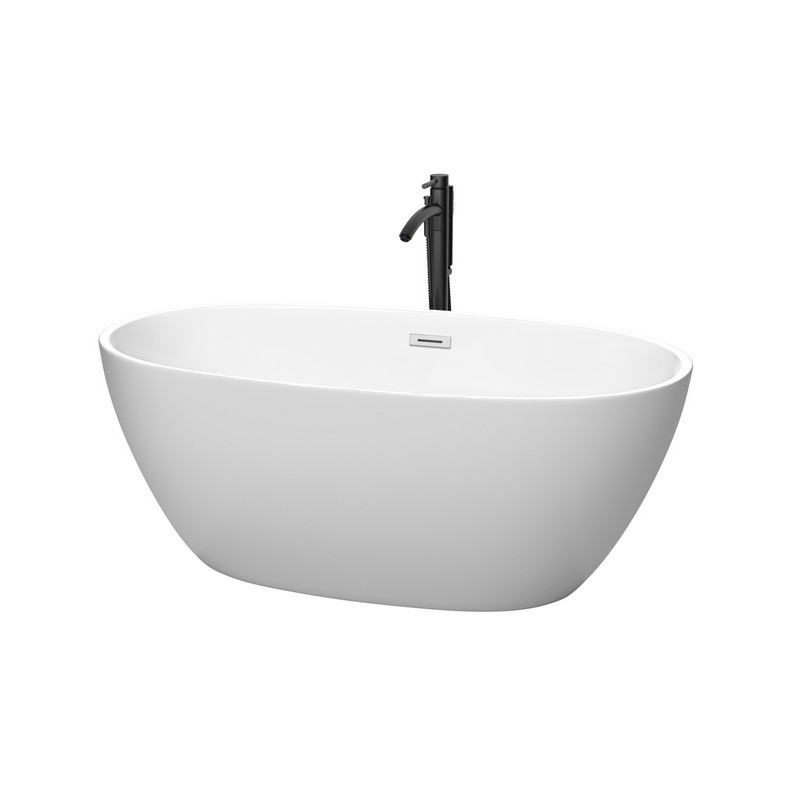 WYNDHAM COLLECTION WCBTE306159MWPCATPBK JUNO 59 INCH FREESTANDING BATHTUB IN MATTE WHITE WITH POLISHED CHROME TRIM AND FLOOR MOUNTED FAUCET IN MATTE BLACK