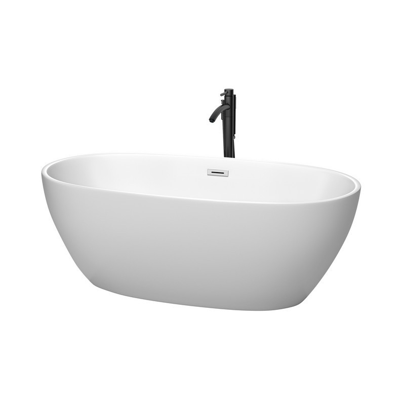 WYNDHAM COLLECTION WCBTE306163MWPCATPBK JUNO 63 INCH FREESTANDING BATHTUB IN MATTE WHITE WITH POLISHED CHROME TRIM AND FLOOR MOUNTED FAUCET IN MATTE BLACK