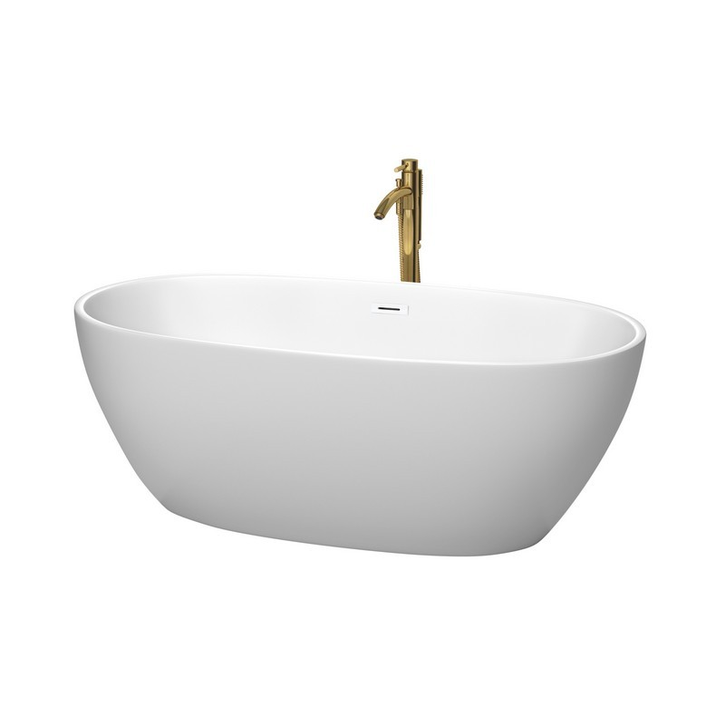 WYNDHAM COLLECTION WCBTE306163MWSWATPGD JUNO 63 INCH FREESTANDING BATHTUB IN MATTE WHITE WITH SHINY WHITE TRIM AND FLOOR MOUNTED FAUCET IN BRUSHED GOLD