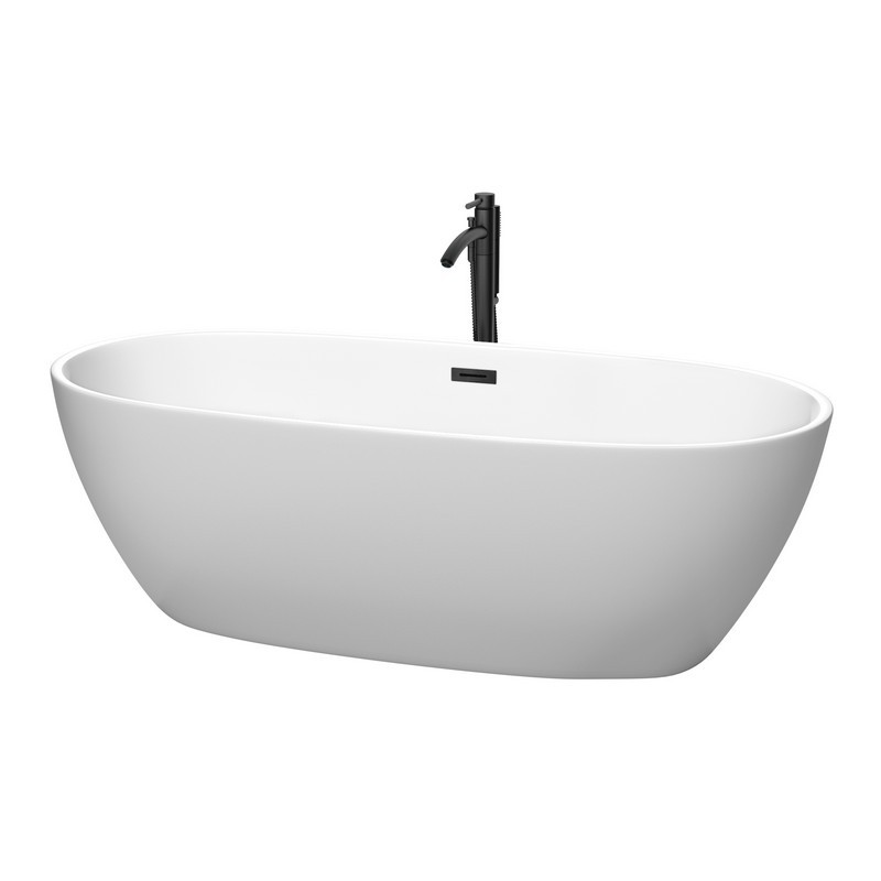 WYNDHAM COLLECTION WCBTE306171MWMBATPBK JUNO 71 INCH FREESTANDING BATHTUB IN MATTE WHITE WITH FLOOR MOUNTED FAUCET, DRAIN AND OVERFLOW TRIM IN MATTE BLACK
