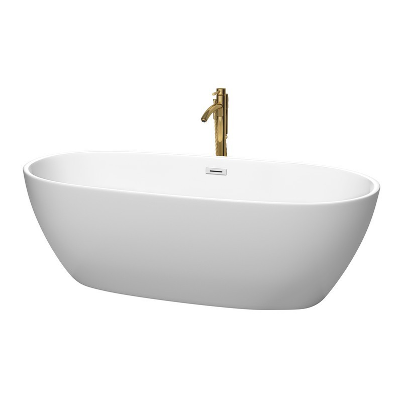 WYNDHAM COLLECTION WCBTE306171MWPCATPGD JUNO 71 INCH FREESTANDING BATHTUB IN MATTE WHITE WITH POLISHED CHROME TRIM AND FLOOR MOUNTED FAUCET IN BRUSHED GOLD