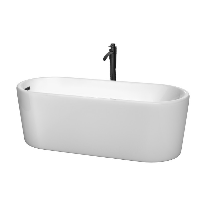 WYNDHAM COLLECTION WCBTK151167MBATPBK URSULA 67 INCH FREESTANDING BATHTUB IN WHITE WITH FLOOR MOUNTED FAUCET, DRAIN AND OVERFLOW TRIM IN MATTE BLACK