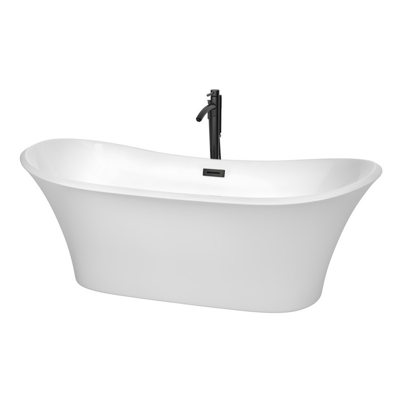 WYNDHAM COLLECTION WCBTK152871MBATPBK BOLERA 71 INCH FREESTANDING BATHTUB IN WHITE WITH FLOOR MOUNTED FAUCET, DRAIN AND OVERFLOW TRIM IN MATTE BLACK