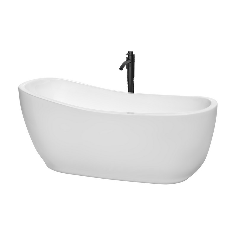 WYNDHAM COLLECTION WCBTO85666SWATPBK MARGARET 66 INCH FREESTANDING BATHTUB IN WHITE WITH SHINY WHITE TRIM AND FLOOR MOUNTED FAUCET IN MATTE BLACK