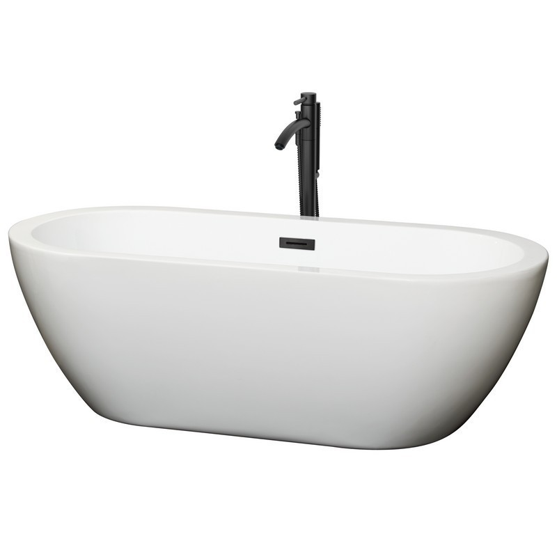 WYNDHAM COLLECTION WCOBT100268MBATPBK SOHO 68 INCH FREESTANDING BATHTUB IN WHITE WITH FLOOR MOUNTED FAUCET, DRAIN AND OVERFLOW TRIM IN MATTE BLACK