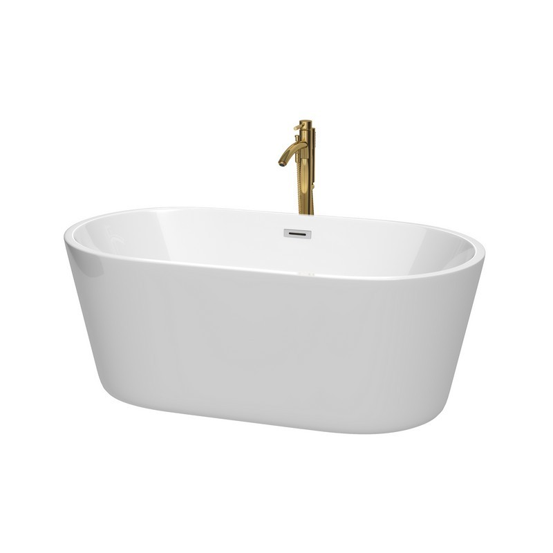WYNDHAM COLLECTION WCOBT101260PCATPGD CARISSA 60 INCH FREESTANDING BATHTUB IN WHITE WITH POLISHED CHROME TRIM AND FLOOR MOUNTED FAUCET IN BRUSHED GOLD